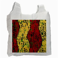 Maroon And Ocher Abstract Art Recycle Bag (two Side)