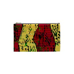 Maroon and ocher abstract art Cosmetic Bag (Small)