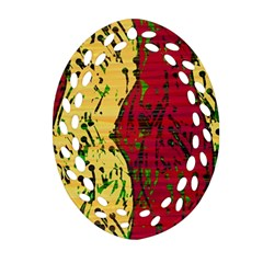 Maroon and ocher abstract art Oval Filigree Ornament (2-Side)