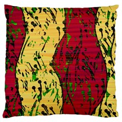 Maroon and ocher abstract art Large Cushion Case (One Side)
