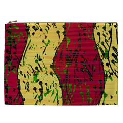Maroon and ocher abstract art Cosmetic Bag (XXL)