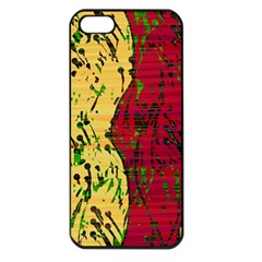Maroon and ocher abstract art Apple iPhone 5 Seamless Case (Black)