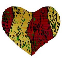 Maroon and ocher abstract art Large 19  Premium Heart Shape Cushions