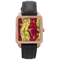 Maroon and ocher abstract art Rose Gold Leather Watch