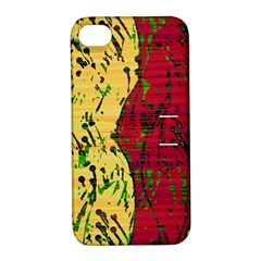 Maroon and ocher abstract art Apple iPhone 4/4S Hardshell Case with Stand