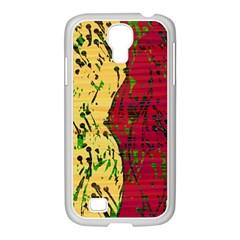 Maroon and ocher abstract art Samsung GALAXY S4 I9500/ I9505 Case (White)