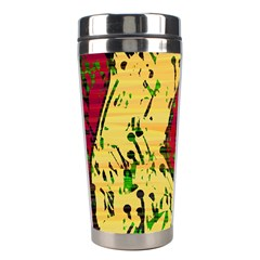 Maroon and ocher abstract art Stainless Steel Travel Tumblers