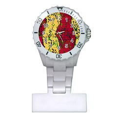 Maroon and ocher abstract art Plastic Nurses Watch