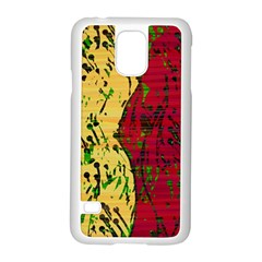 Maroon and ocher abstract art Samsung Galaxy S5 Case (White)