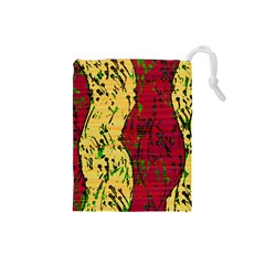 Maroon and ocher abstract art Drawstring Pouches (Small)