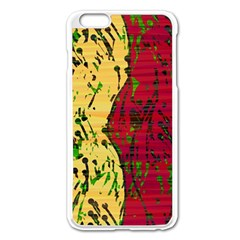 Maroon and ocher abstract art Apple iPhone 6 Plus/6S Plus Enamel White Case