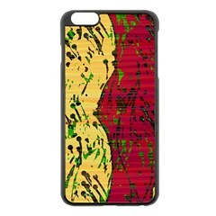 Maroon and ocher abstract art Apple iPhone 6 Plus/6S Plus Black Enamel Case