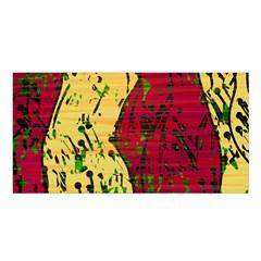 Maroon and ocher abstract art Satin Shawl