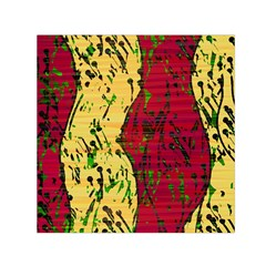 Maroon and ocher abstract art Small Satin Scarf (Square)