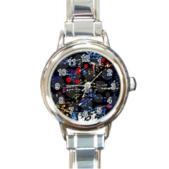 Blue confusion Round Italian Charm Watch