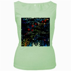 Blue confusion Women s Green Tank Top