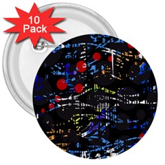 Blue confusion 3  Buttons (10 pack)