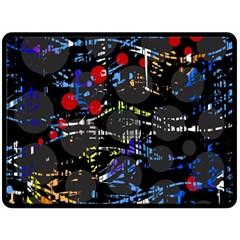 Blue confusion Fleece Blanket (Large)