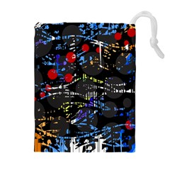 Blue confusion Drawstring Pouches (Extra Large)