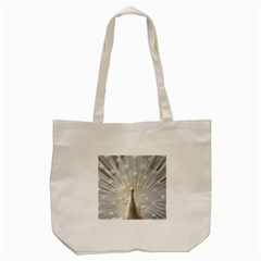 3d White Peacock Feather Tote Bag (Cream)