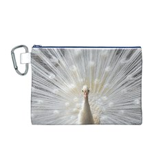 3d White Peacock Feather Canvas Cosmetic Bag (M)