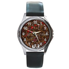 Brown confusion Round Metal Watch