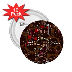 Brown confusion 2.25  Buttons (10 pack)