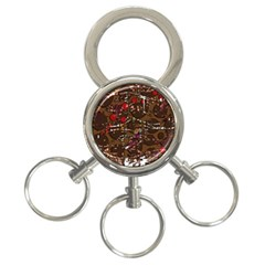 Brown confusion 3-Ring Key Chains