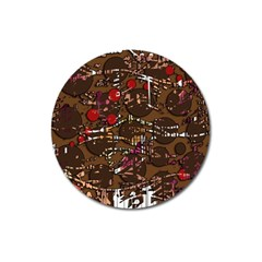 Brown confusion Magnet 3  (Round)