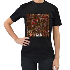 Brown confusion Women s T-Shirt (Black) (Two Sided)