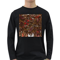 Brown confusion Long Sleeve Dark T-Shirts