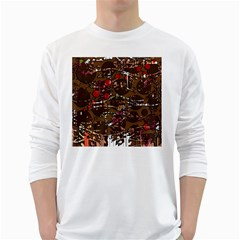 Brown confusion White Long Sleeve T-Shirts