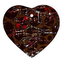 Brown confusion Heart Ornament (2 Sides)
