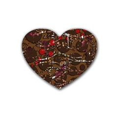 Brown confusion Heart Coaster (4 pack)