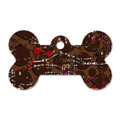 Brown confusion Dog Tag Bone (One Side)