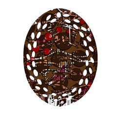Brown confusion Oval Filigree Ornament (2-Side)