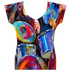 Abstract Paintings Wallpapers Women s V-Neck Cap Sleeve Top