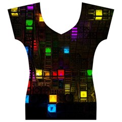 Abstract 3d Digital Art Colors Cubes Square Shapes Pattern Dark Women s V-Neck Cap Sleeve Top