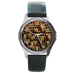 Bees On A Comb Round Metal Watch