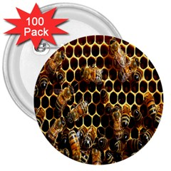 Bees On A Comb 3  Buttons (100 Pack)