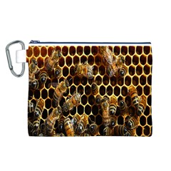 Bees On A Comb Canvas Cosmetic Bag (L)