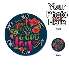 C mon Get Happy With A Bright Floral Themed Print Playing Cards 54 (round)