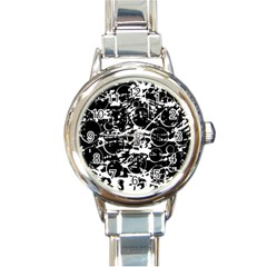 Black and white confusion Round Italian Charm Watch