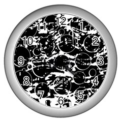 Black and white confusion Wall Clocks (Silver)