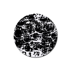 Black and white confusion Rubber Round Coaster (4 pack)