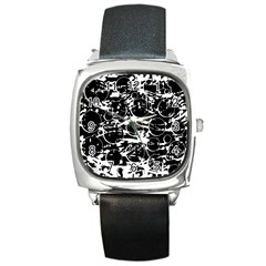 Black and white confusion Square Metal Watch
