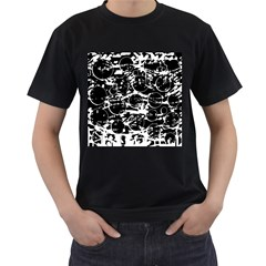 Black and white confusion Men s T-Shirt (Black) (Two Sided)