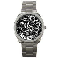 Black And White Confusion Sport Metal Watch