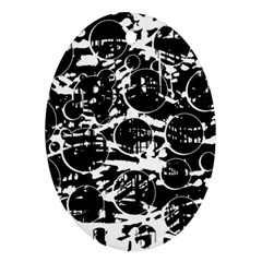 Black and white confusion Oval Ornament (Two Sides)