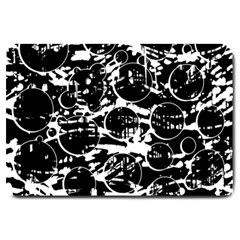 Black and white confusion Large Doormat